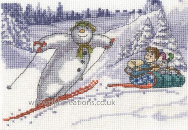 The Snowman and Snowdog Fun In The Snow Cross Stitch Kit